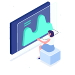 Isometric Woman Viewing Graph