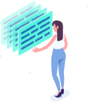 Isometric Woman with Screens